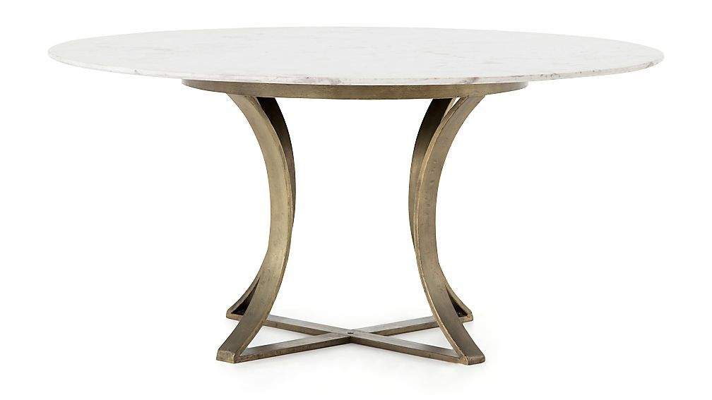 Damen 60 White Marble Top Dining Table Crate And Barrel With