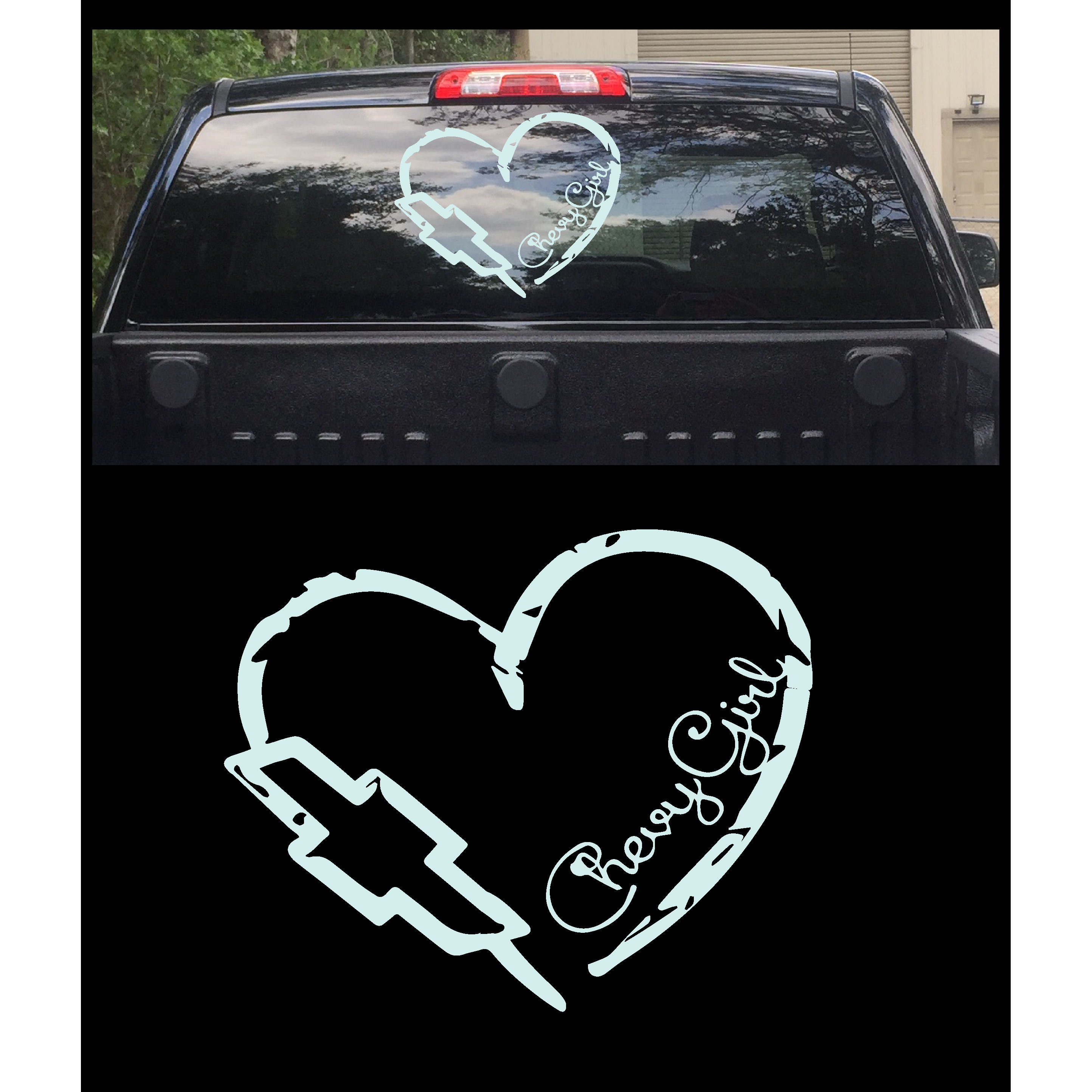 Chevy Bowtie with girl vinyl decal