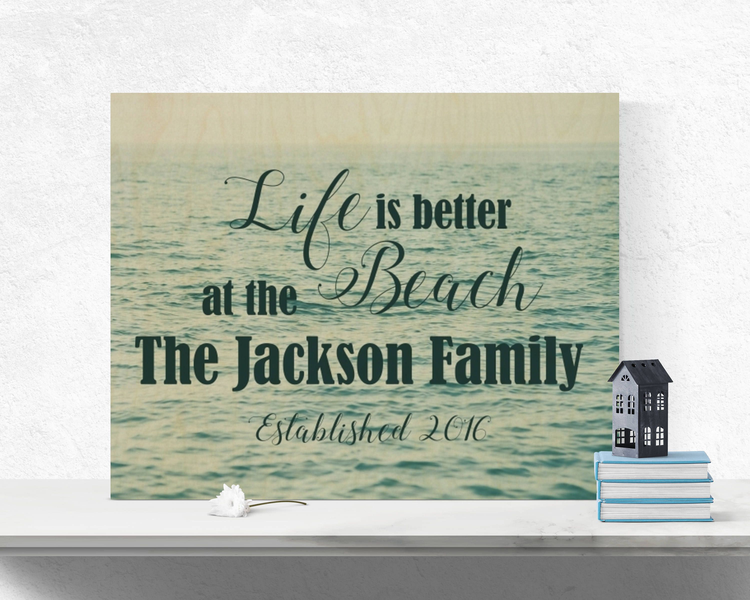 Family Name Beach Wood Sign Ocean Wood Wall Art Ocean Wood Sign Beach : beach wood wall art - www.pureclipart.com