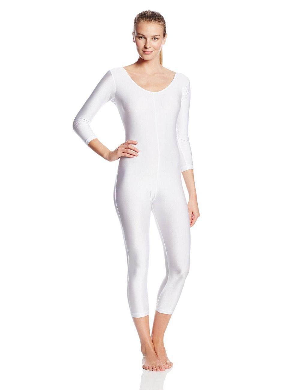32430b4f8 Ensnovo Women White Lycra Nylon Ballet Unitard Adult Full Body ...