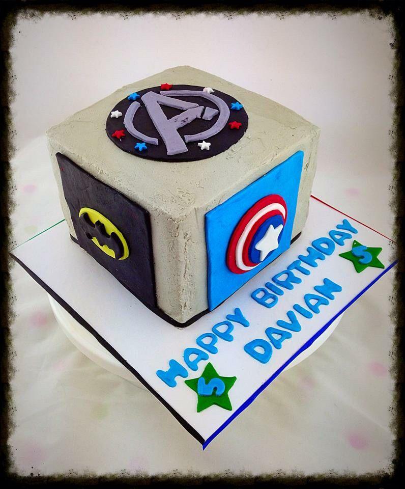 Avengers buttercream cube cake Cake Decorating Pinterest Cake