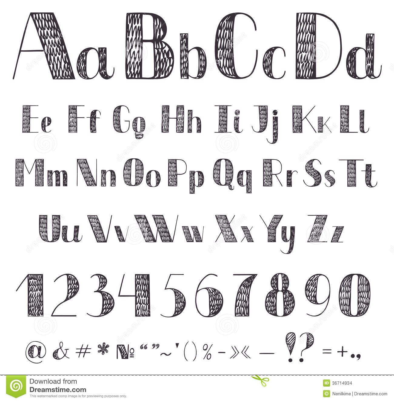Hand Drawing Alphabet  Fonts  Printables    Hand