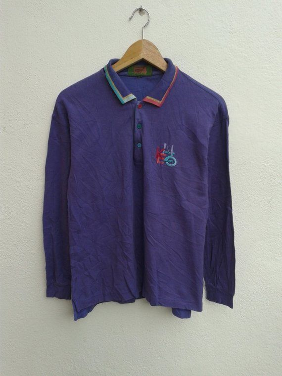 12f8515c KENZO GOLF Vintage Polos Embroidered Colorful Logo Long Sleeve Casual Shirt  90s Vibes Streetwear