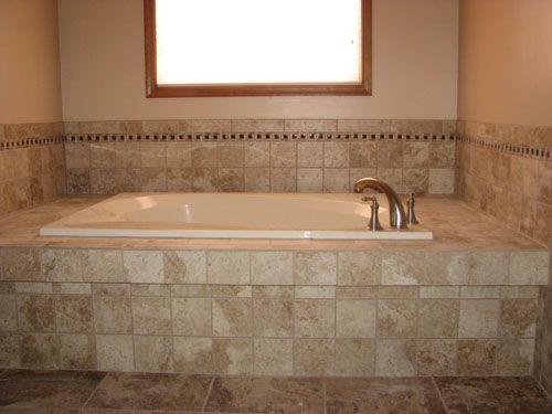 ceramic tile tub deck with mosaic border-marlton,nj