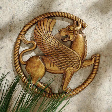 Persian Griffin Wall Sculpture, Gold