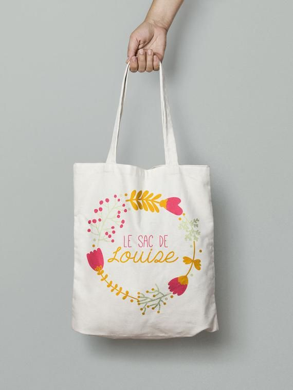 Personalized Tote Bag Canvas Tote Bag Flowers Bag Custom Tote