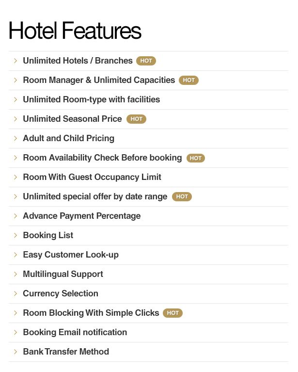 Feature List Of Luxury Hotel Booking Wordpress Theme With Images