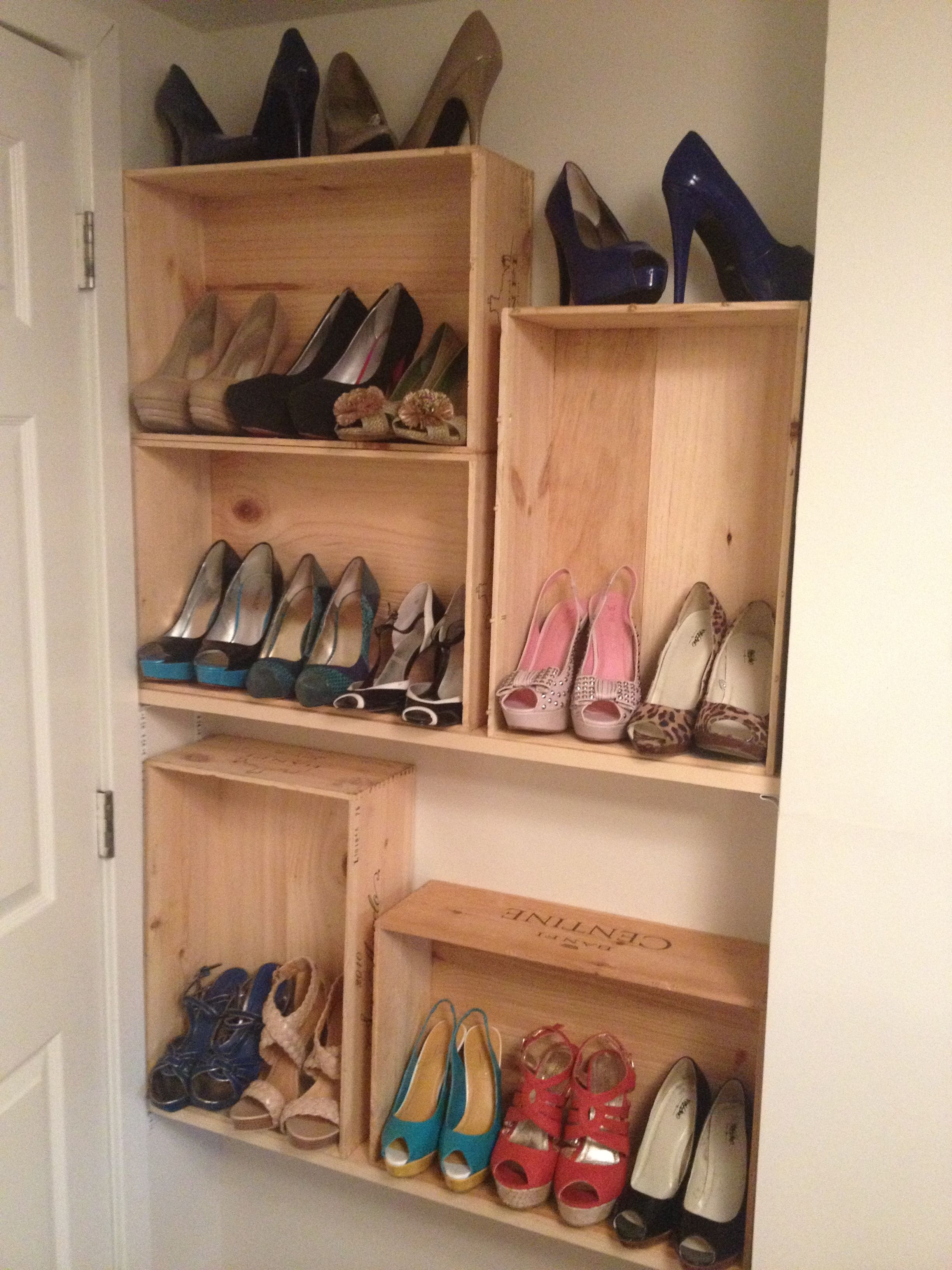 Look At My Wine Crate Shoe Shelves Did It Myself Shoe