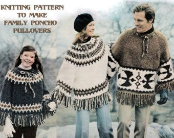 Instant download pdf vintage seventies knitting pattern to make instant download pdf vintage seventies knitting pattern to make fairisle aztec ethnic poncho cape sweaters mens dt1010fo
