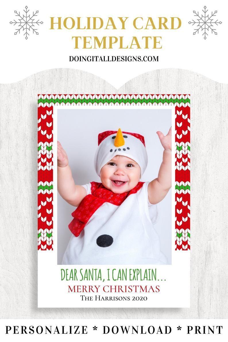 Funny Christmas Card Template Christmas Photo Card Editable Etsy Christmas Card Template Christmas Photo Cards Holiday Card Template