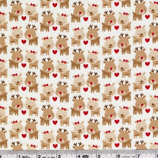 Adorable reindeer find romance around the holidays. This quilting weight fabric is 44/45