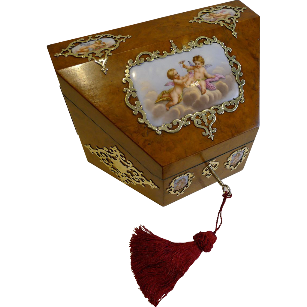 Decorative Stationery Boxes Magical Antique English Burr Walnut & Handpainted Porcelain