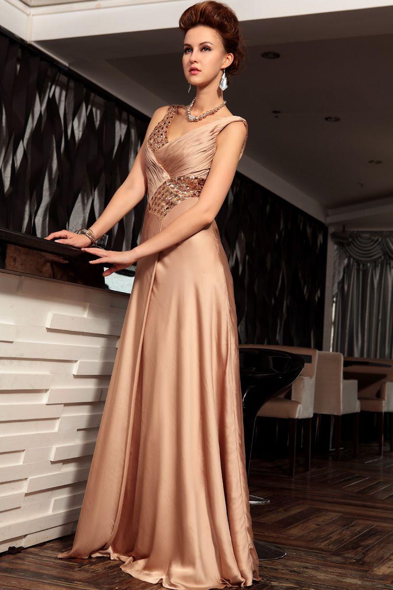2013 Women Deep V-neck Long Design Champagne Formal Dress Silk Evening Dress,<3!