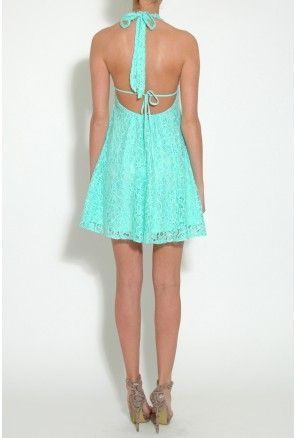 Mint Lace Halterneck Skater Dress From Rare London | Wedding Bliss ...