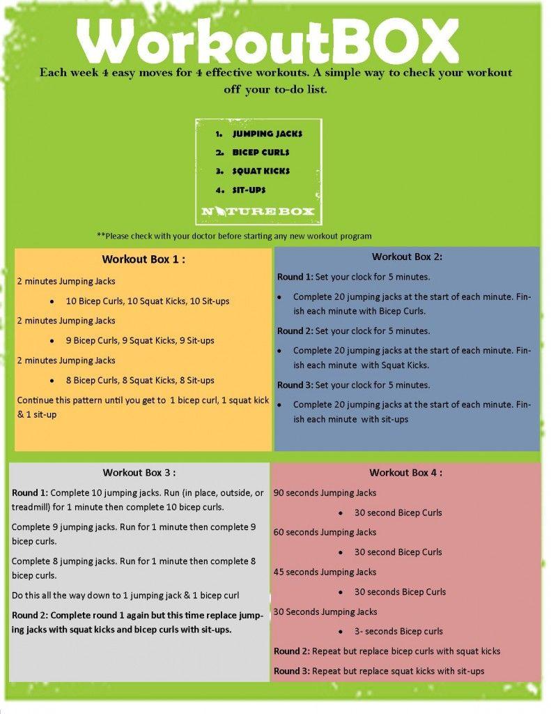 Printable Home Workout Box- 4 Exercises 4 Workout Routines