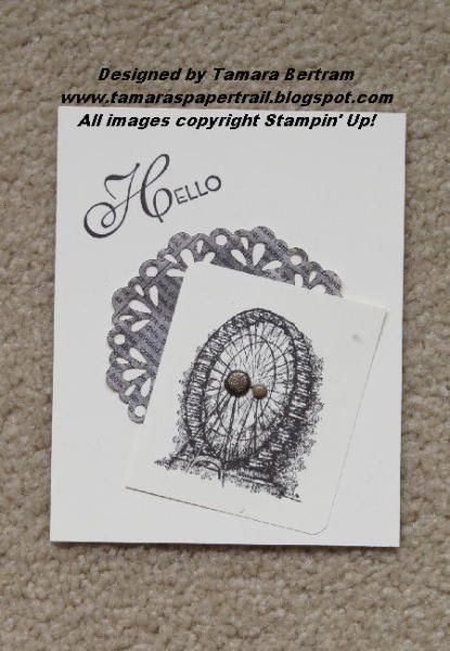Delicate Doilies Sizzlet used on Newsprint DSP   Glimmer and Neutral brad on the Ferris Wheel   Hello is from Lovely & Lacy   Early Espresso and Very Vanilla ink and cs