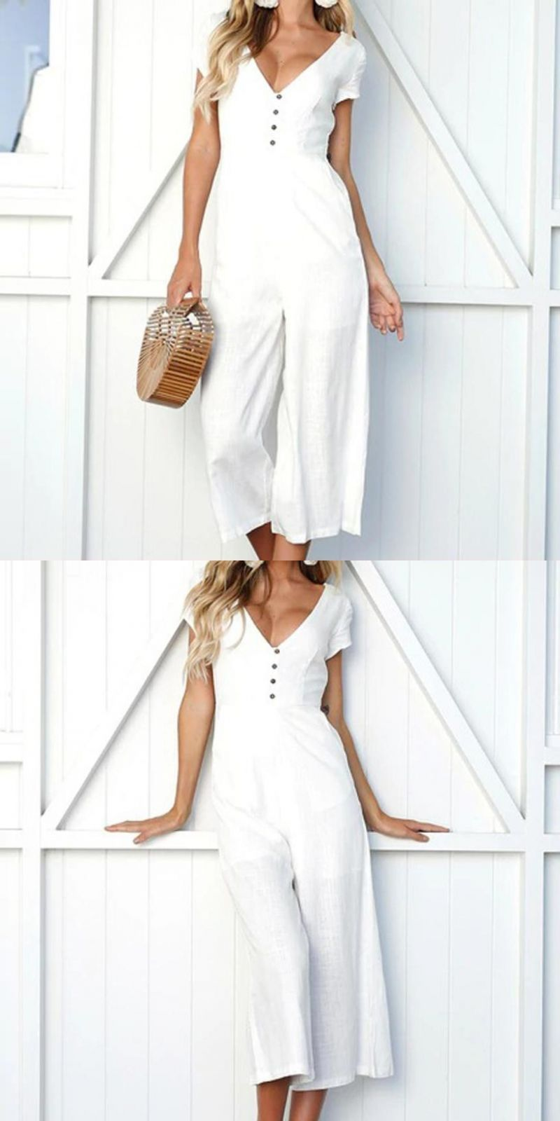 0766791e01b0 Summer womens solid wide leg female jumpsuits deep v-neck short sleeve  strappy holiday long playsuits trouser jumpsuit  polyester  jumpsuits   casual ...