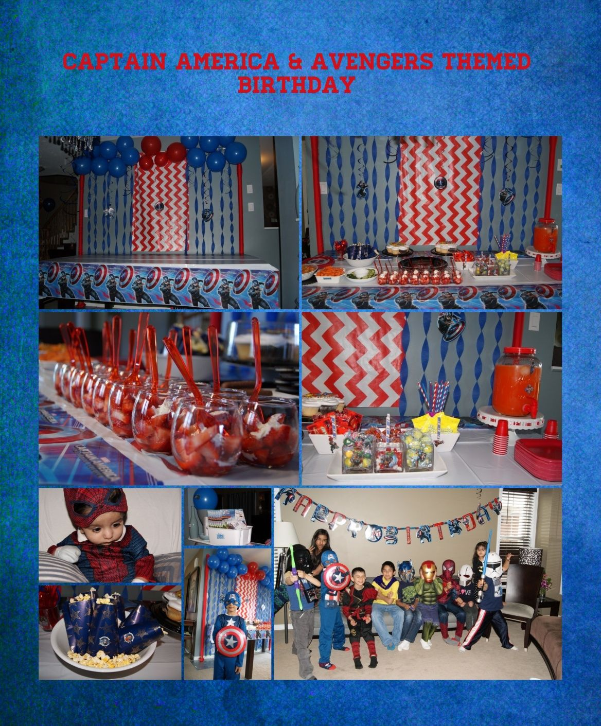Captain America And The Avengers Themed Birthday Party DIY Backdrop With Red Blue Decor Details All Kids In Superhero Costumes