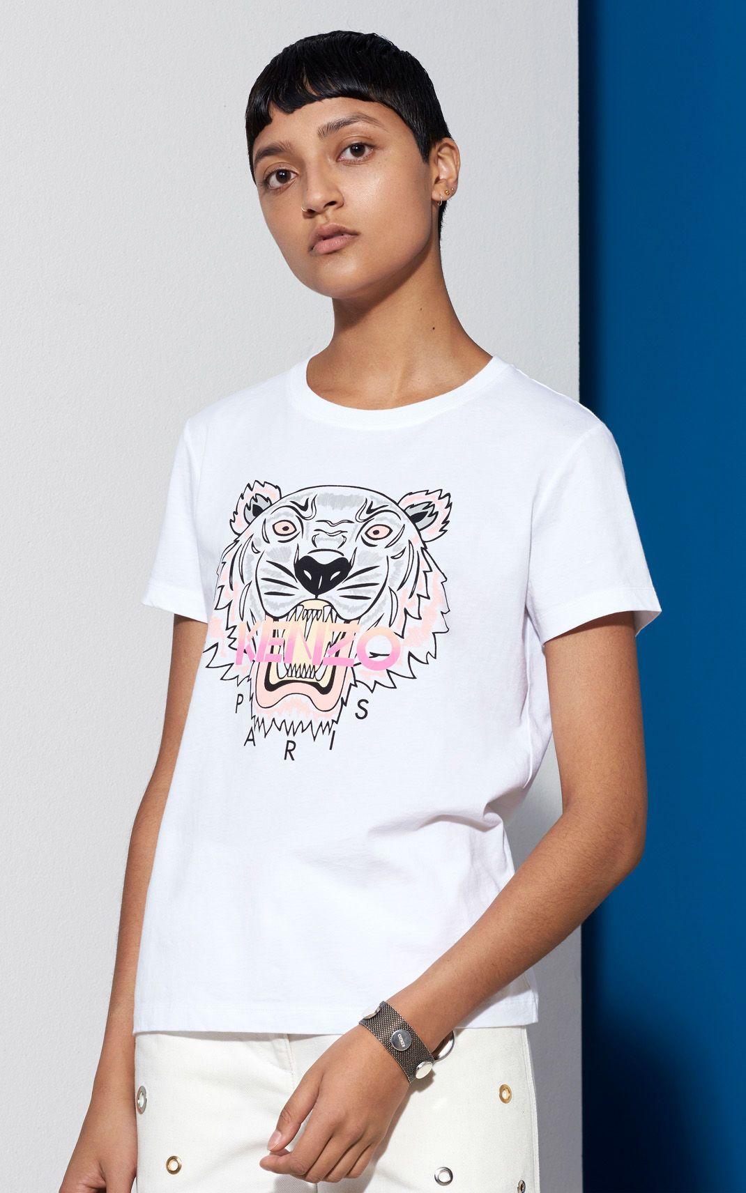3528ff36384e Tiger T-shirt, WHITE, KENZO   WL   Women, T shirt, Tiger t shirt
