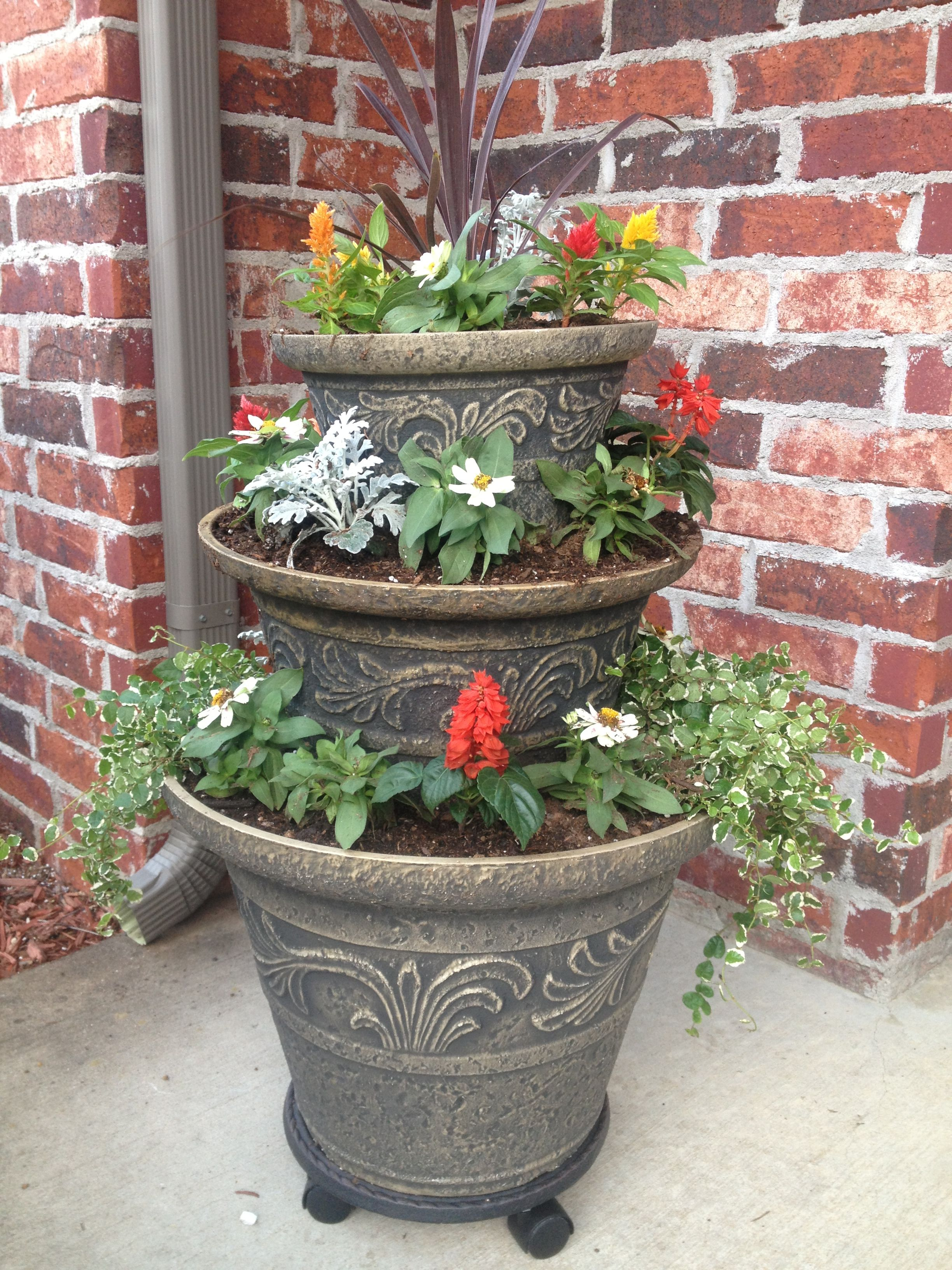 Three Tier Flower Pots My New 3 Tier Planter I Love It Flower Pots Tiered