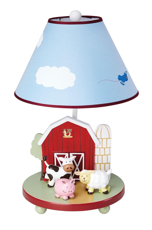 Guidecraft Farm Friends 19 H Table Lamp With Empire Shade Nursery Lamp Table Lamp Farm Animal Nursery Decor