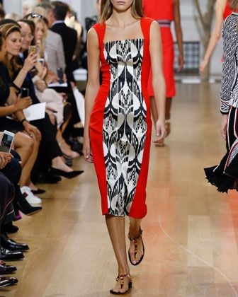 Ikat Jacquard Sleeveless Dress, Cayenne/Black by Oscar de la Renta at Neiman Marcus.