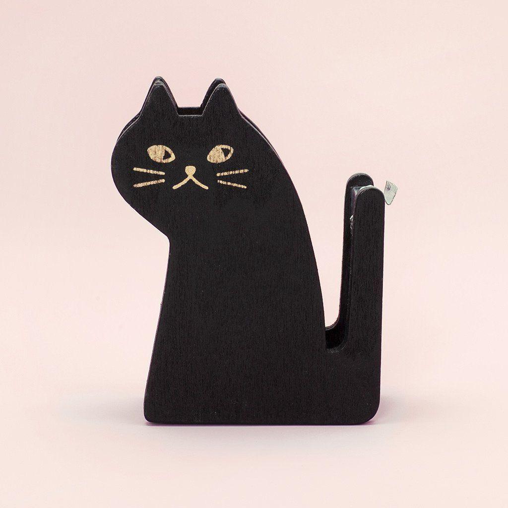 Black Cat Tape Dispenser Tape Dispenser Wood Cat Black Cat