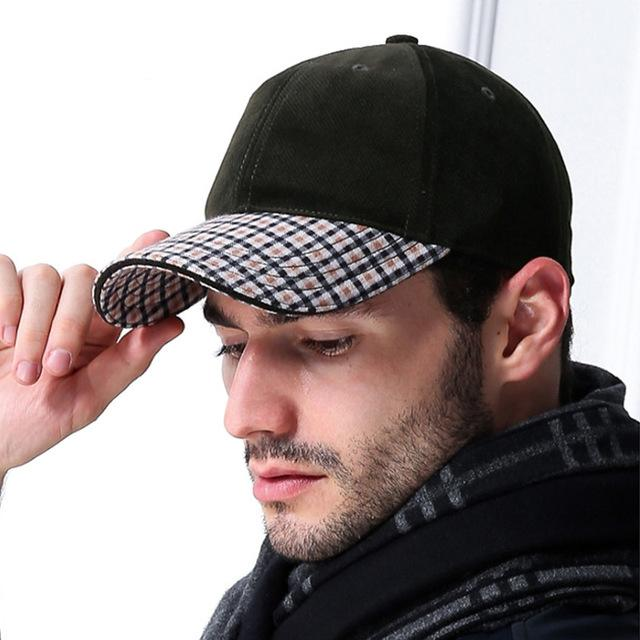 AETRENDS Vintage plaid suede cap luxury brand men s baseball caps russia  winter outdoor dad a5b70fe68b30