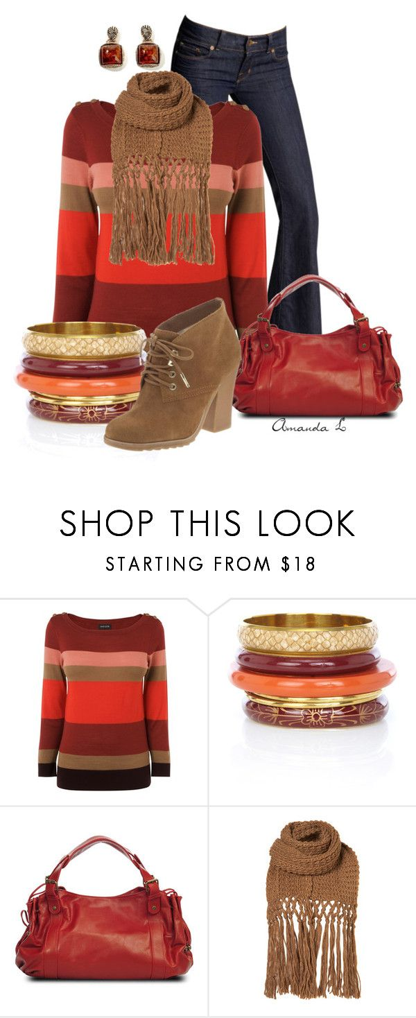 """""""Red, Orange & Brown"""" by ailunsford ❤ liked on Polyvore featuring J Brand, Jaeger, Oasis, Gérard Darel, Michael Kors and Barse"""
