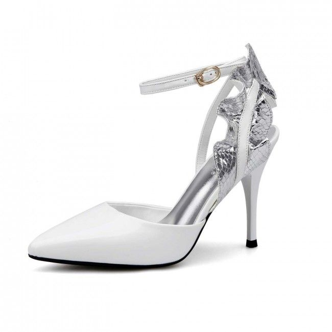 6cf19daecb8 White Sexy Flower Pointed Toe Sandals Stiletto Heels With Ankle Strap -  TheCelebrityDresses Flat Prom Shoes