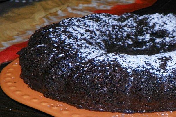 Dark Chocolatr Cake Recipe. Uses a box.