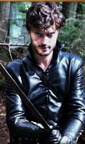 Jamie Dornan as The Huntsman, shows off his skills with a sword.