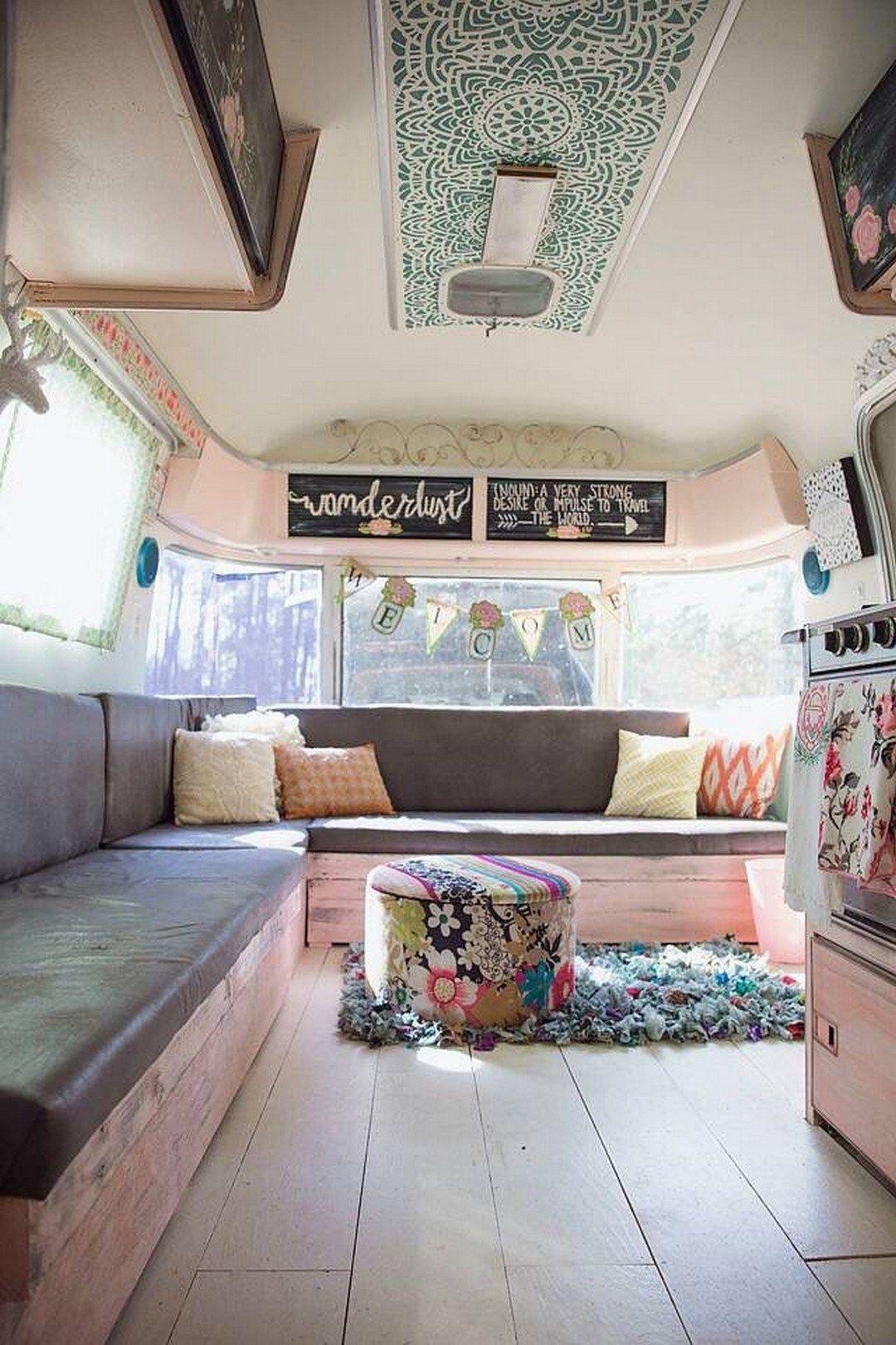 50 RV Camper Trailers Interior Design Ideas (20 | Motor home remodel ...