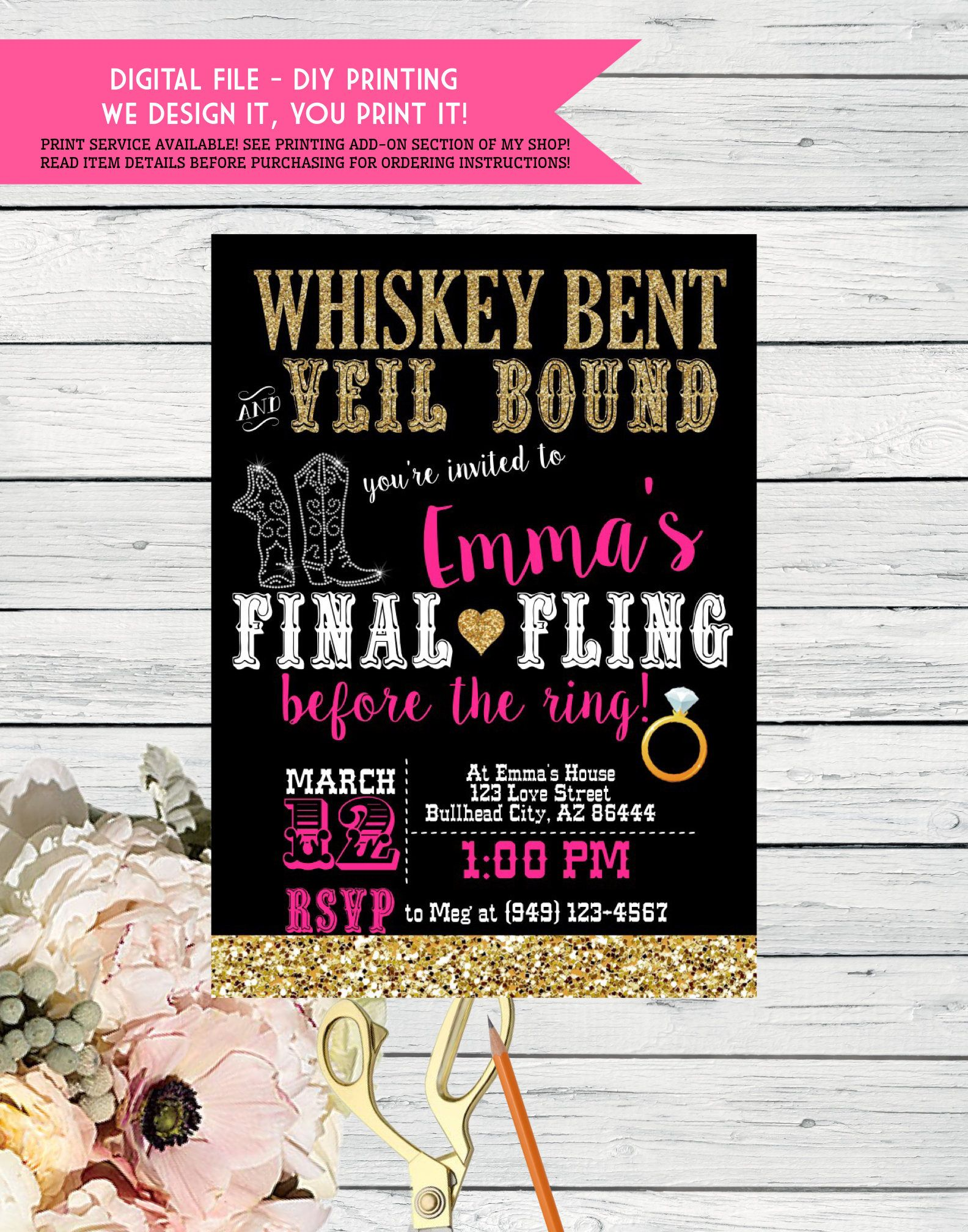 Whiskey Bent And Veil Bound Bachelorette Party Invite Front