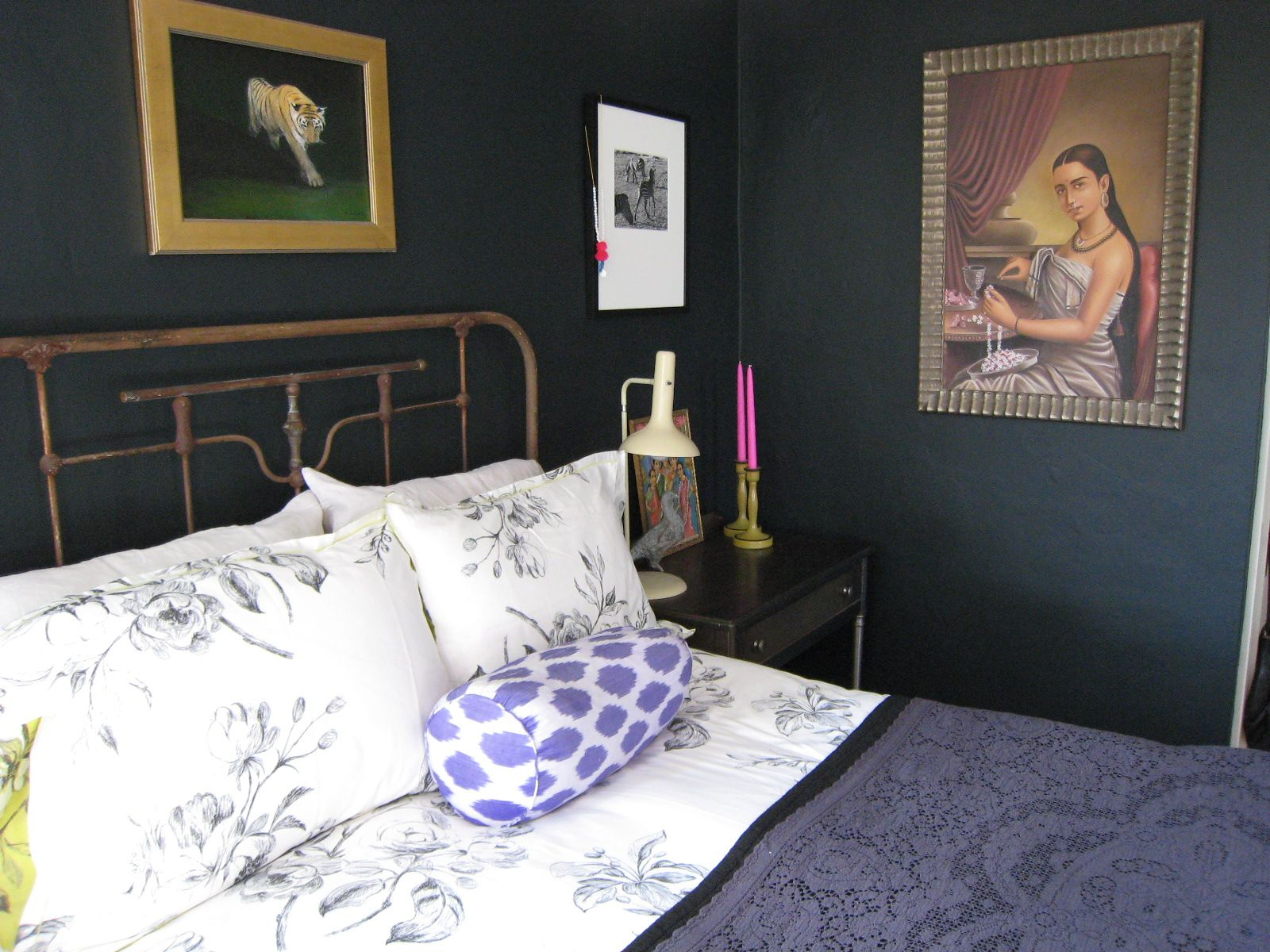 Dark blue and black bedroom - Farrow Ball Blue Black Paint In My Old Sausalito Bedroom