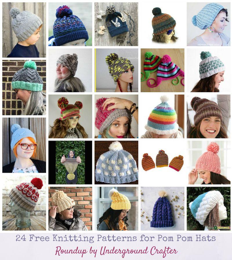 Roundup: 24 Free Knitting Patterns for Pom Pom Hats   Knitting ...
