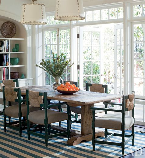 farmhouse dining room. striped dhurrie. rustic table. drum shades ...