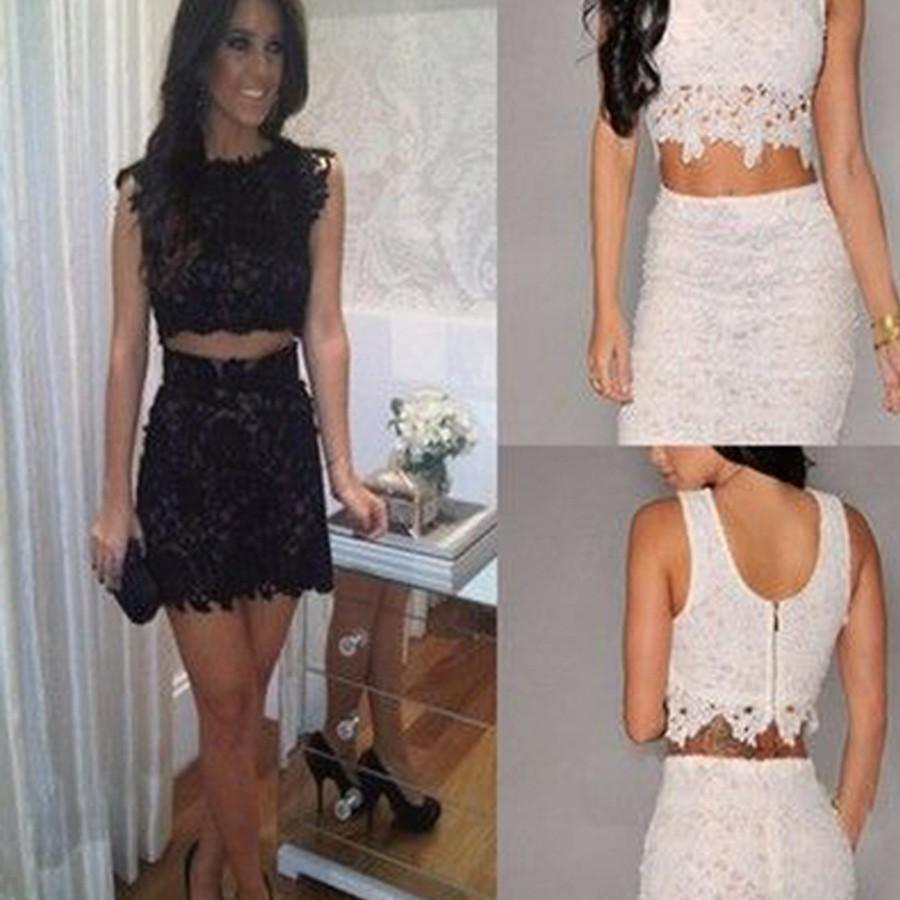 Lace two pieces tight unique style simple casual homecoming prom