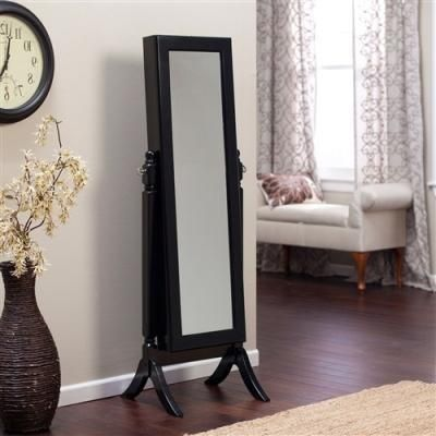 Buy Full Length Tilting Cheval Mirror Jewelry Armoire in Black Wood