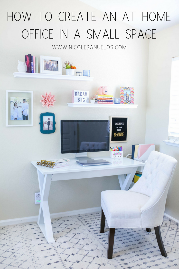 How To Create An At Home Office In A Small Space Bloggers Dream Office Space 3 Home Office Space Desks For Small Spaces Small Space Office