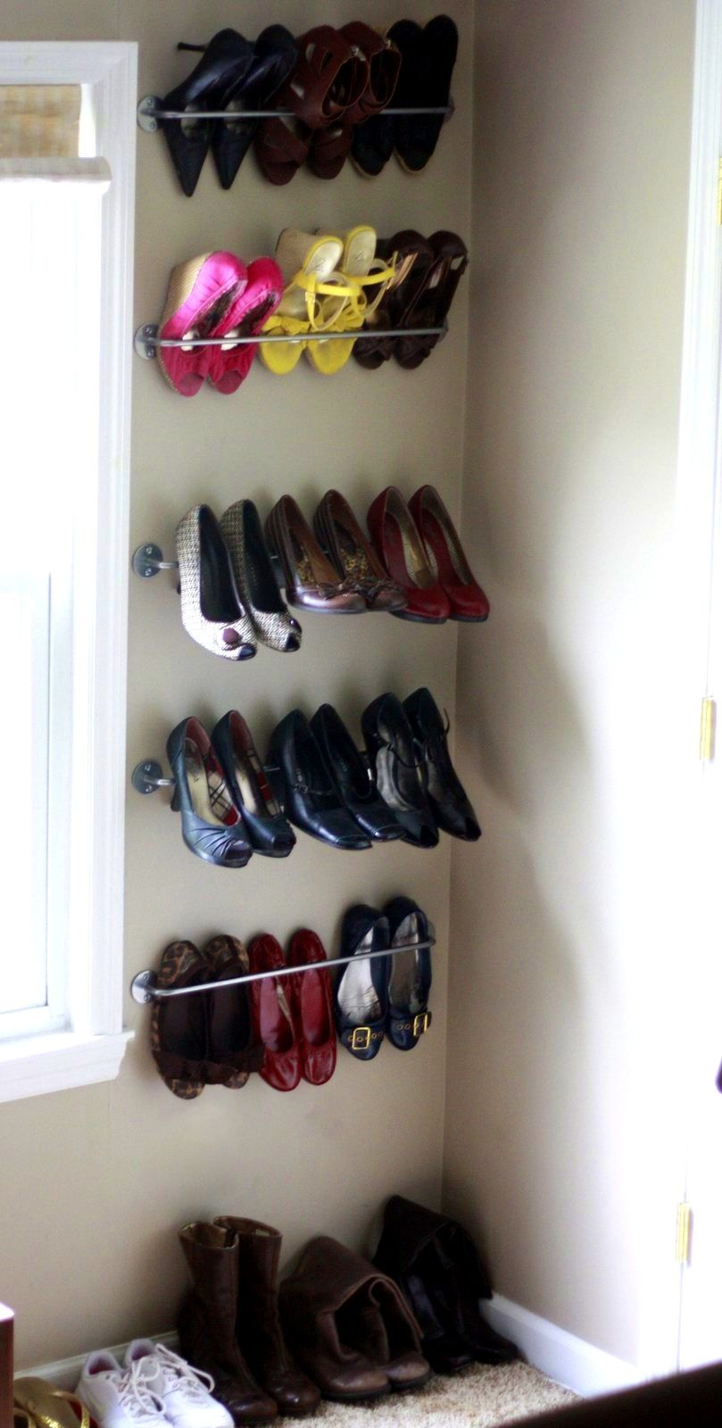 Decor Ikea Shoe Storage, Simple Shoes Rack, Stainless Hanging Shelves.  Great Ikea Shoe Storage Ideas