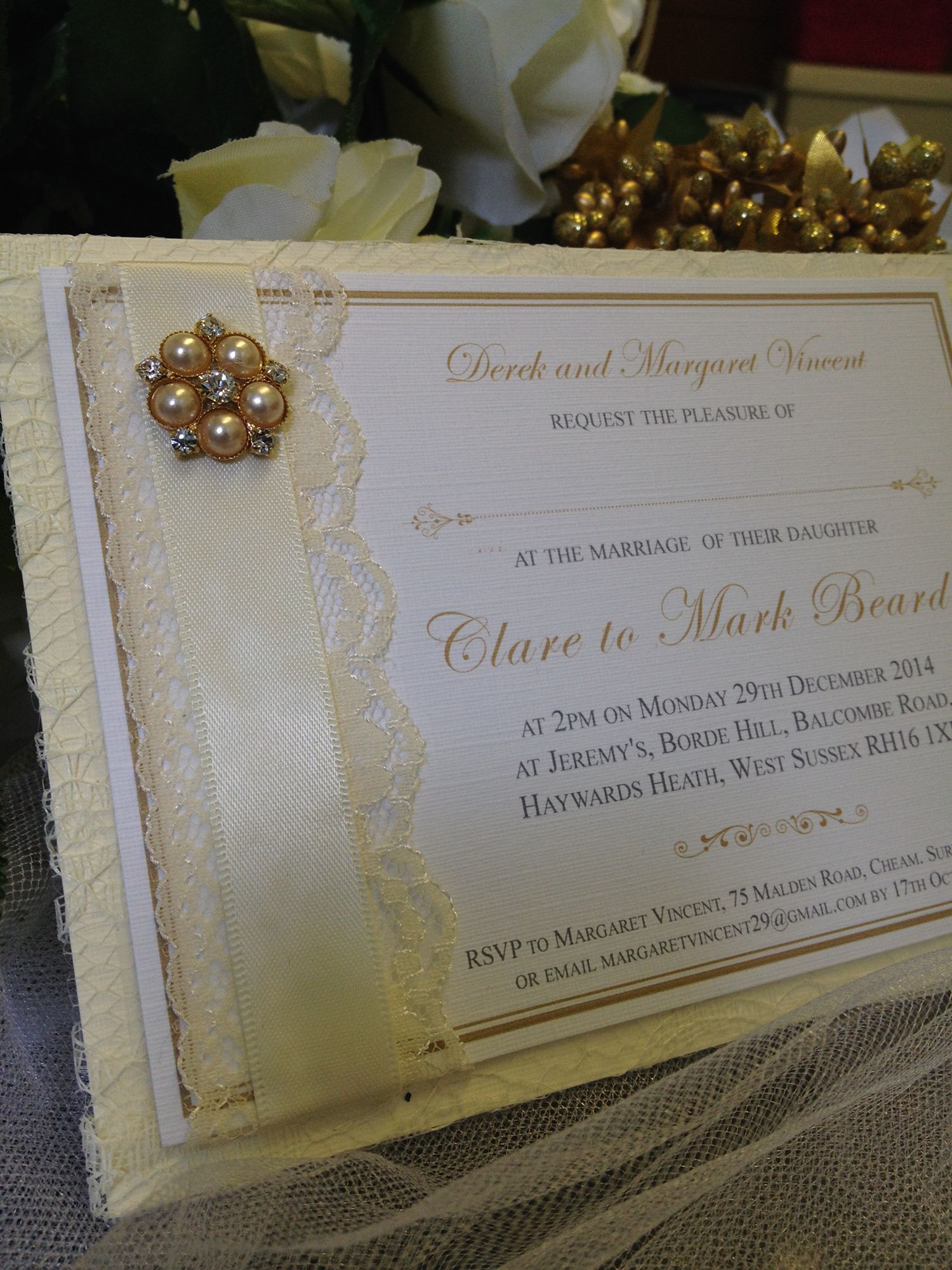 Luxury vintage wedding invitation with lace and