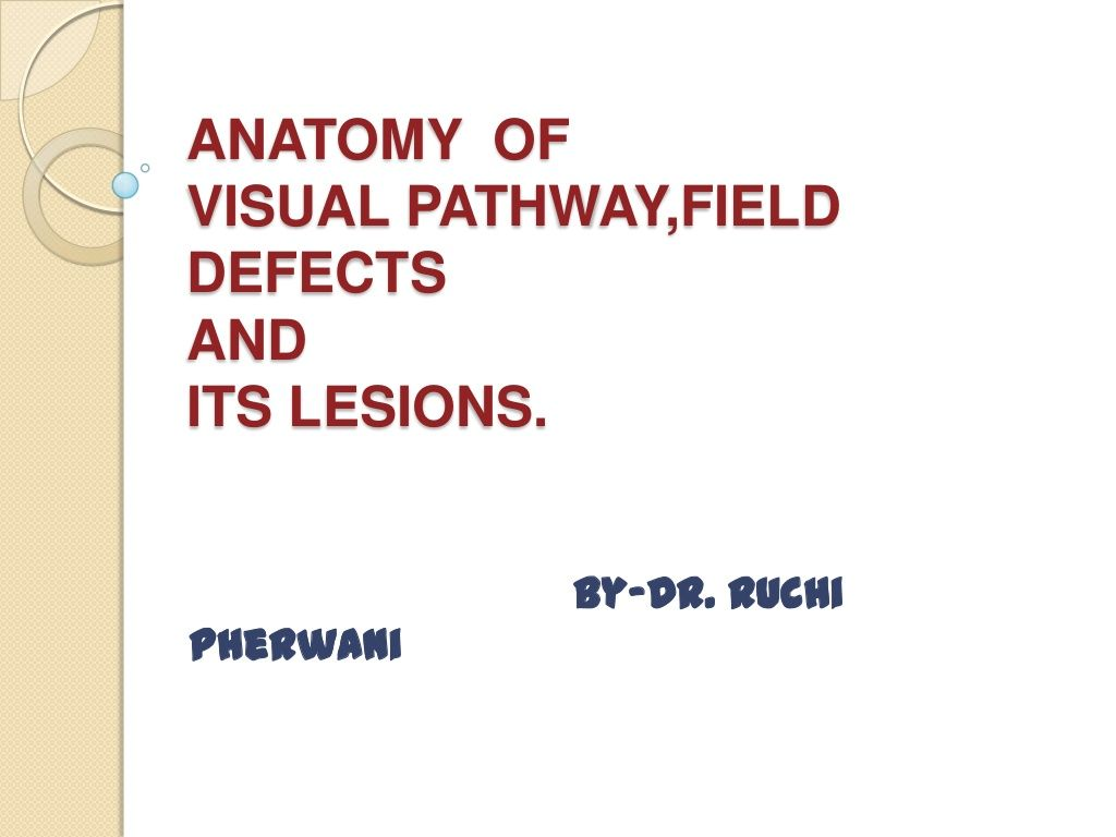 Anatomy of visual pathway, field defects and its lesions. by Ruchi ...