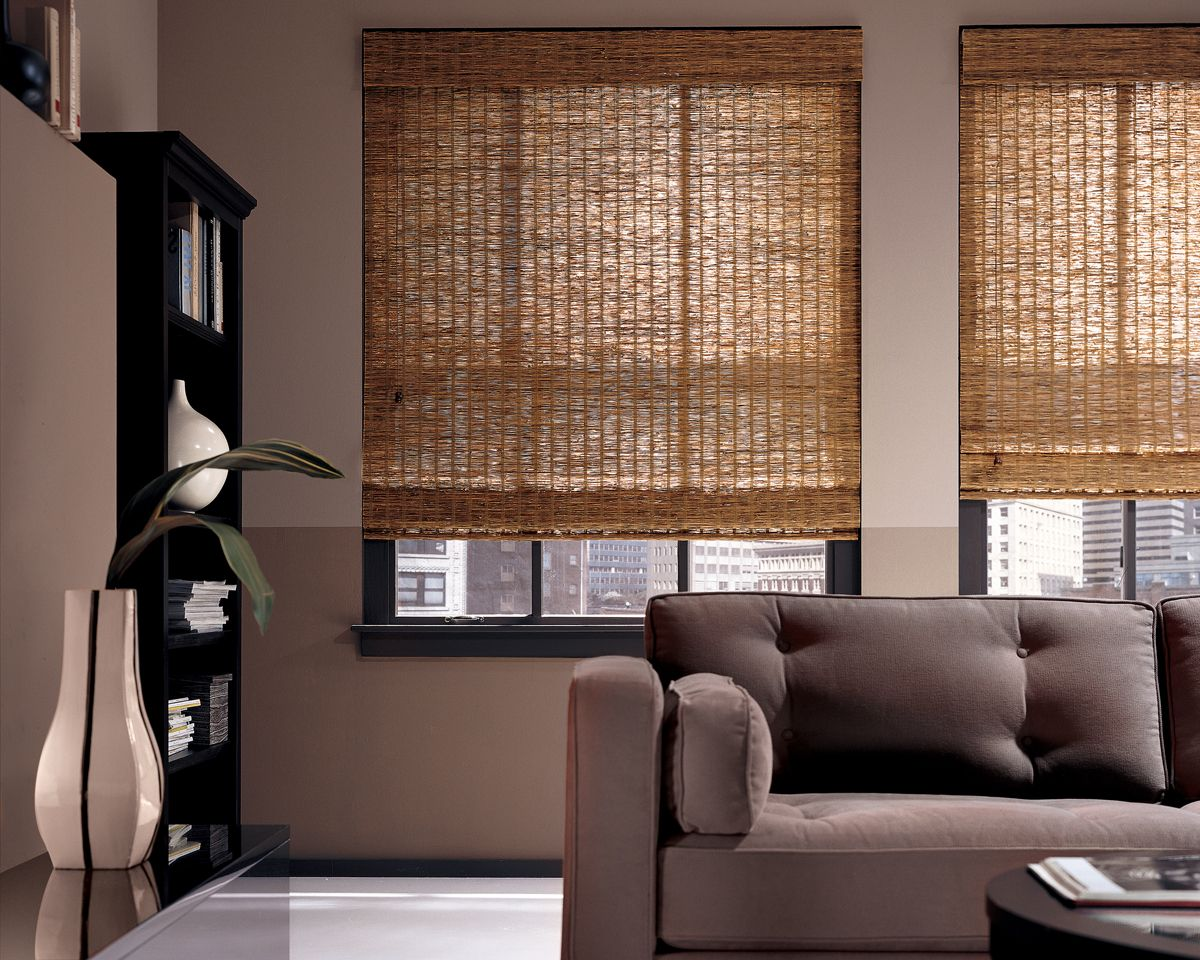 Natural Fiber Window Treatments Part - 35: Hunter Douglas Provenance Woven Wood Shades In Living Room