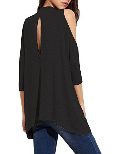 354df8468 Special Offer: $14.96 amazon.com Haola Women's High Neck Cold Shoulder T- shirt Hole Back Tees Juniors Girl Loose Tops S BlackAvailable in regular  Size, ...