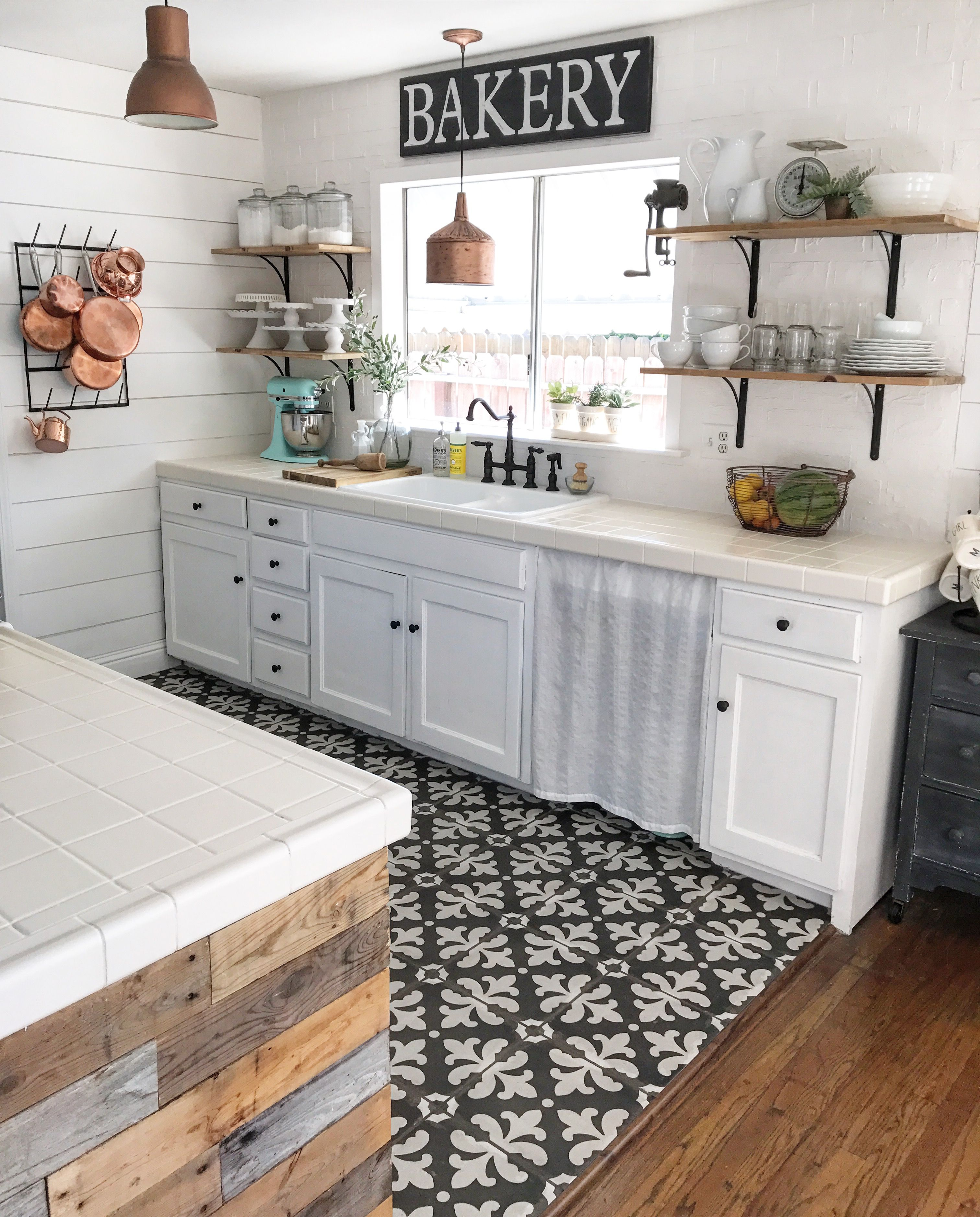 black and white tile copper pans cottage kitchen kitchen flooring on farmhouse kitchen black and white id=81193
