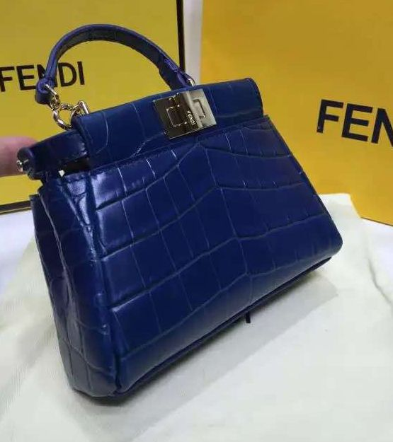 3489487b3522 fendi navy crocodile stamped micro peekaboo bag Fendi Micro Peekaboo,  Hermes Kelly, Evening Bags