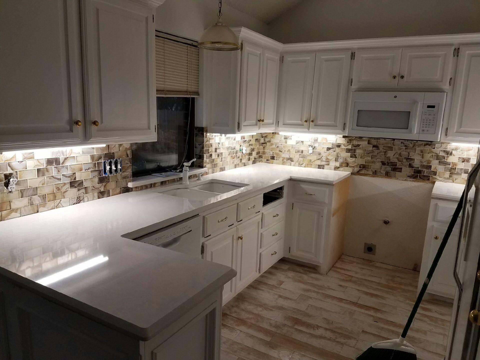 Quartz Countertop And Tile Backsplash By T T T T Custom Countertops