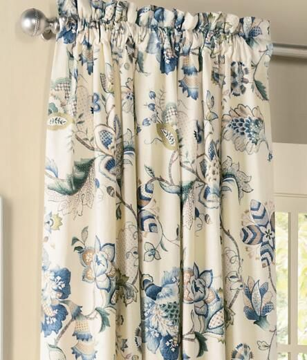 Jacobean Floral Lined Rod Pocket Curtains Pair Was 239 95 289 95 Panel Curtains Curtains Blue Floral Curtains