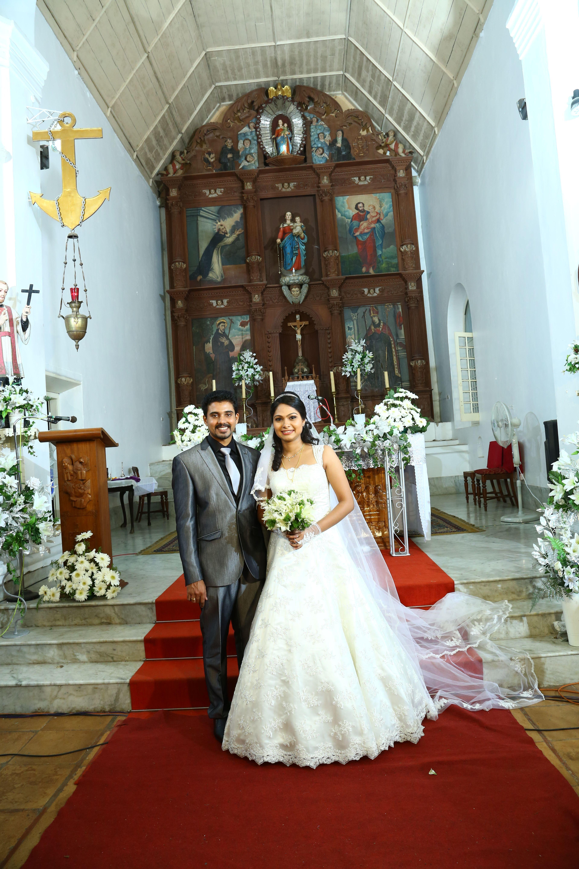 The Bride Groom After Their Wedding At A Quaint Malayali Catholic Church Indian